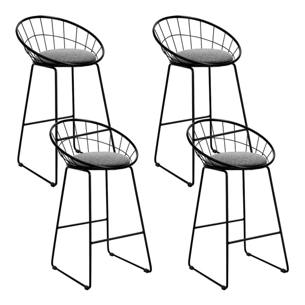 Set of 4 Nordic Bar Stools-Grey Fabric-Black Frame-FREE SHIPPING