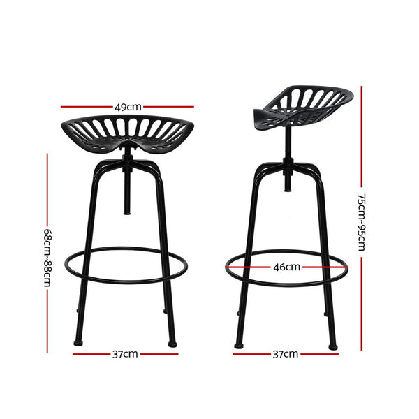 Kitchen Bar Stool-Tractor Seat-Industrial Vintage-Metal-Black-FREE SHIPPING