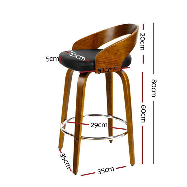 Set of 4 Wooden Bar Stools-Swivel-PU Faux Leather-Black-FREE SHIPPING