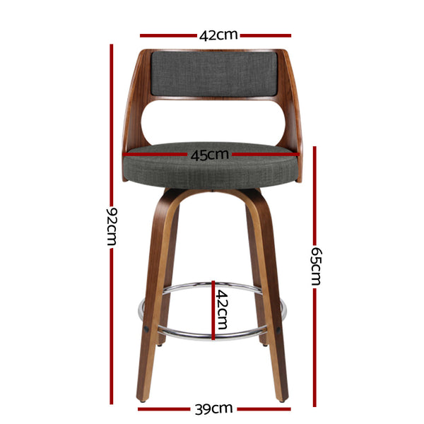 Set of 4 Wooden Bar Stools-Swivel Bar Stool-Charcoal Fabric-FREE SHIPPING