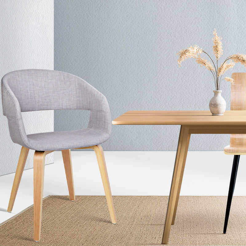 Set of 2 Timber and Fabric Dining Chairs-Light Grey-FREE SHIPPING