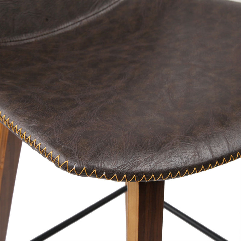 Set of 2 PU Faux Leather Bar Stools-Walnut-FREE SHIPPING