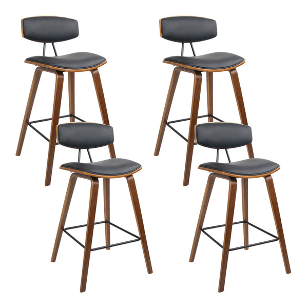 Set of 4 Wooden Bar Stools-Black PU Faux Leather-FREE SHIPPING