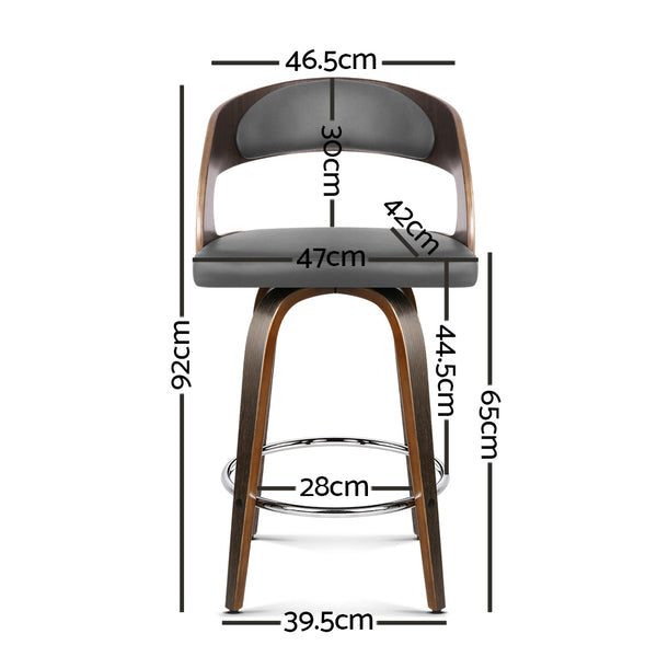 Set of 2 Walnut Wooden and PU Faux Leather Bar Stools-Grey and Walnut-FREE SHIPPING