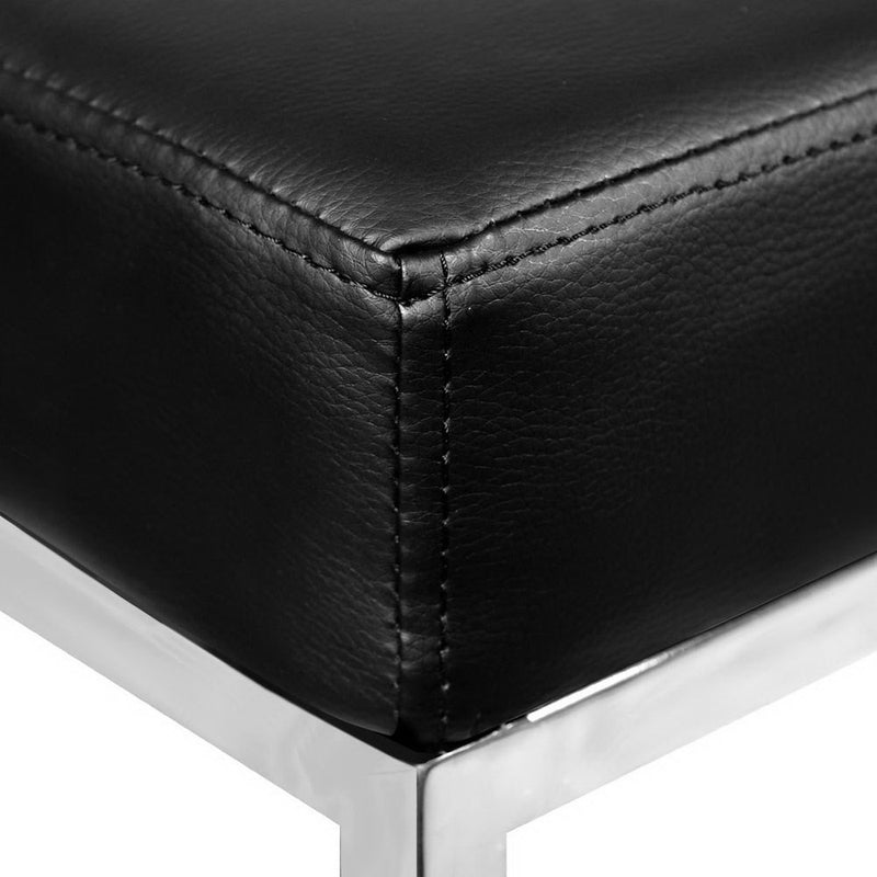 Set of 2 PU Faux Leather Backless Bar Stools-Black-FREE SHIPPING