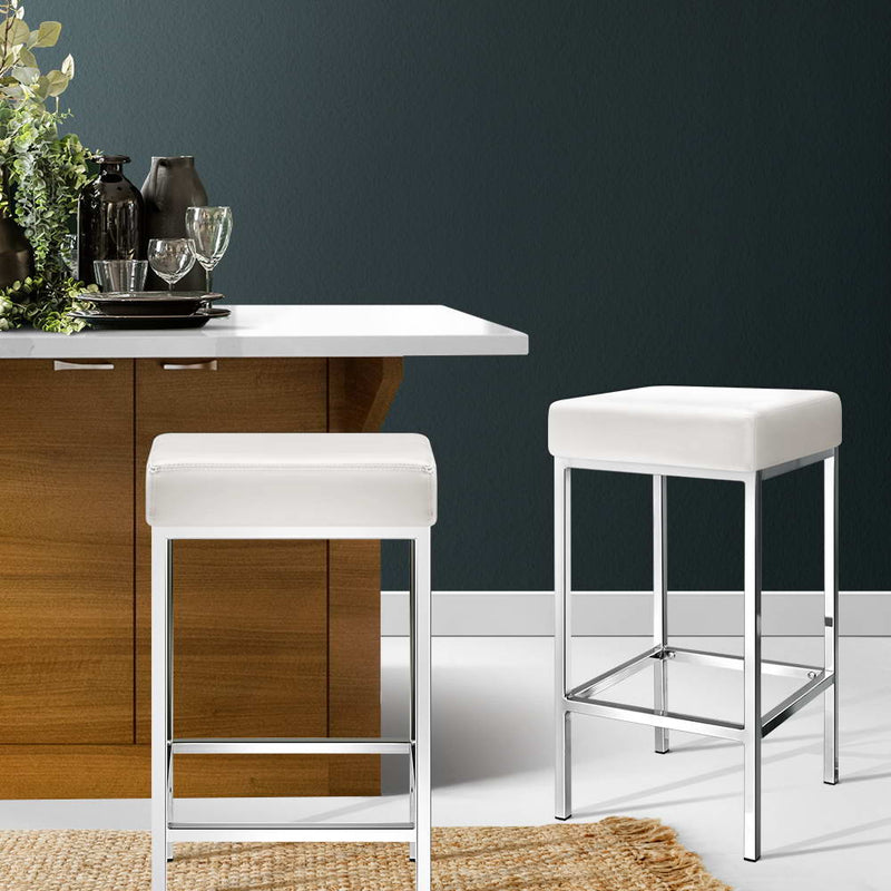 Set of 2 PU Faux Leather Backless Bar Stools-White-FREE SHIPPING