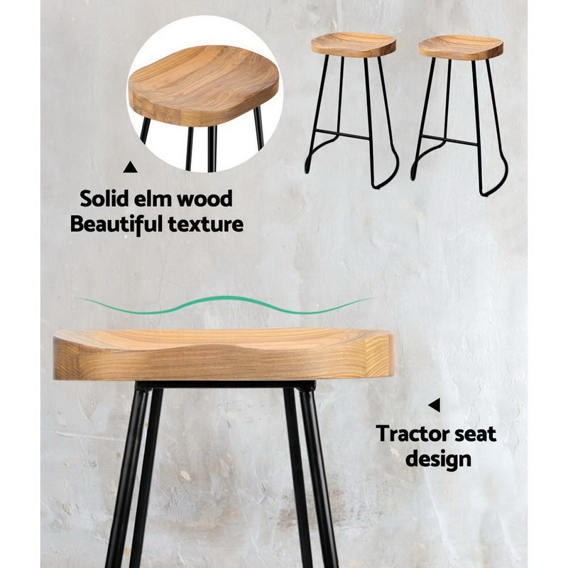 Set of 2 Wooden Backless Bar Stools-65cm High-Natural-FREE SHIPPING