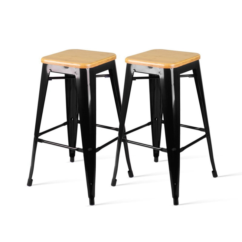 Set of 2 Metal and Wooden Backless Bar Stools-Black-FREE SHIPPING