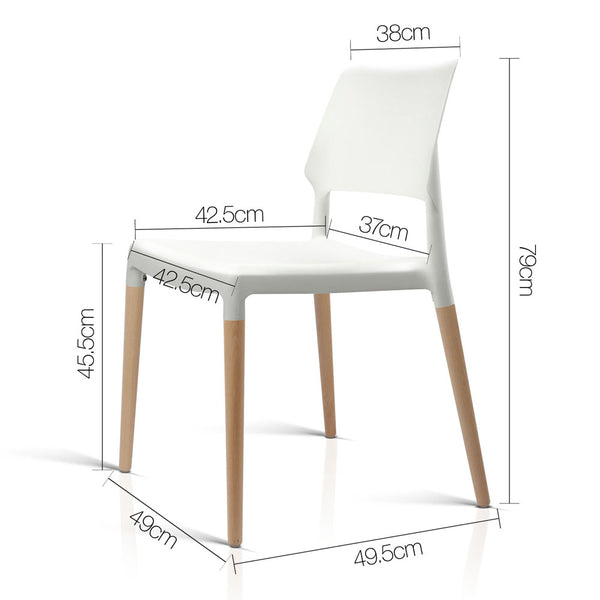 Set of 4  Stackable Dining Chairs-White-FREE SHIPPING