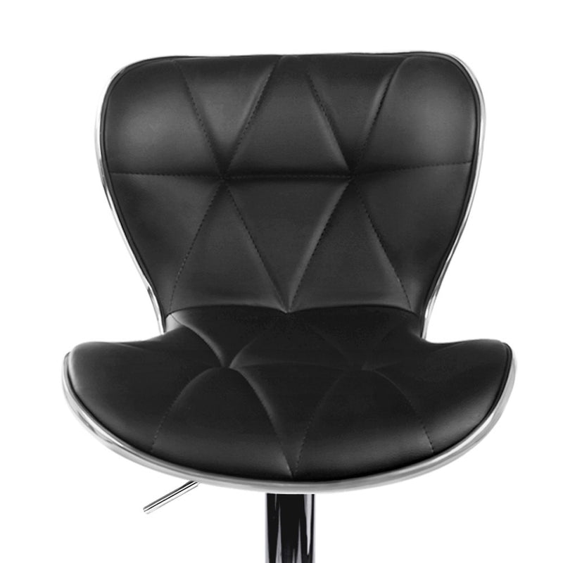 Set of 4 Bar Stools -Swivel-Gas Lift -Black PU Faux Leather-FREE SHIPPING
