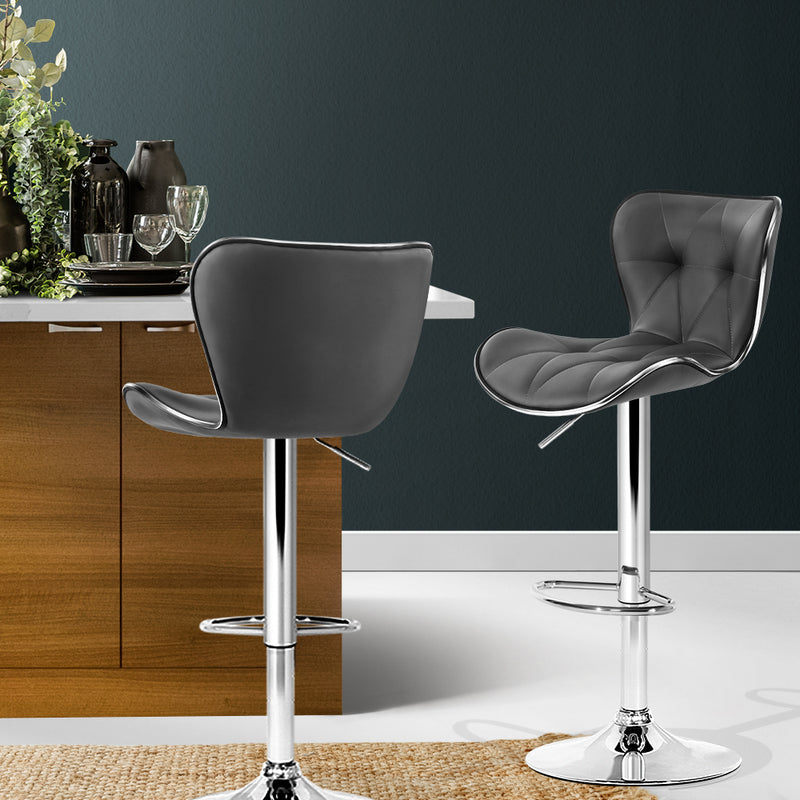Set of 2 Kitchen Bar Stools with Gas Lift-Swivel-PU Faux Leather-Grey-FREE SHIPPING