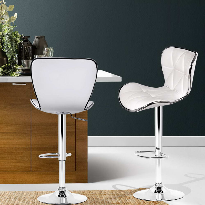 Set of 2 PU Faux Leather Bar Stools-White-FREE SHIPPING