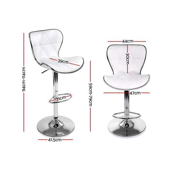 Set of 4 Bar Stools-Swivel-PU Faux Leather -Gas Lift-White-FREE SHIPPING