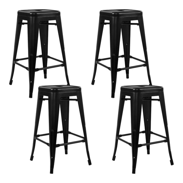 Set of 4 Replica Tolix Bar Stools-Metal-76cm Black-FREE SHIPPING
