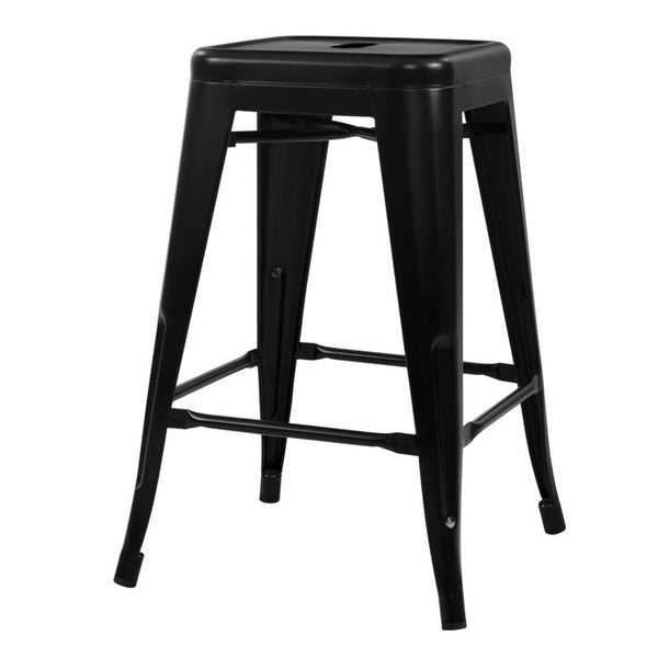 Artiss Set of 4 Metal Backless Bar Stools - Glossy Black