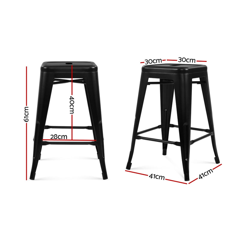 Set of 4 Metal Backless Bar Stools-61CM HIGH-Glossy Black-FREE SHIPPING