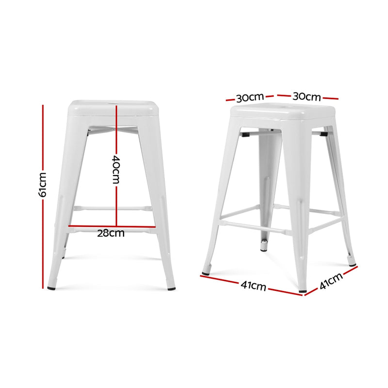 Set of 4 Replica Metal Tolix Bar Stools-61cm High-White-FREE SHIPPING