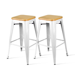 Set of 2 Metal and Bamboo Bar Stools-White-FREE SHIPPING