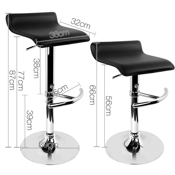 Set of 2 PU Faux Leather Bar Stools-Black-FREE SHIPPING