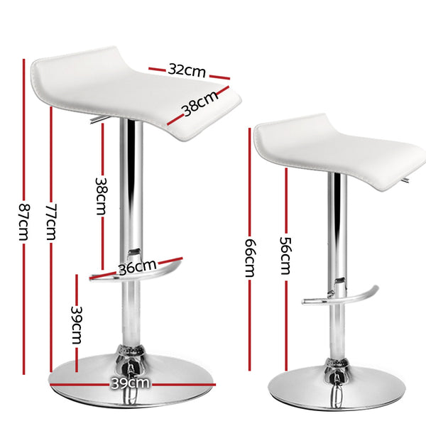 Set of 4 Bar Stools-Swivel Bar Stool-PU Faux Leather-Gas Lift White-FREE SHIPPING