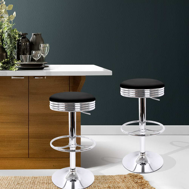 Set of 2 PU Faux Leather Backless Bar Stools-Black Seat-FREE SHIPPING