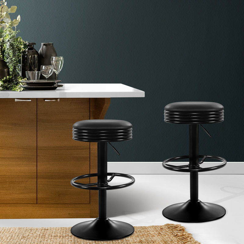 Set of 2 Gas Lift Kitchen Bar Stools-Swivel Seat-Black-FREE SHIPPING