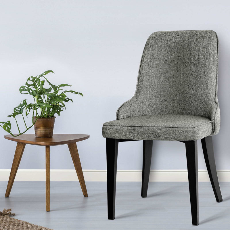 Set of 2 Fabric Dining Chairs-Grey-FREE SHIPPING