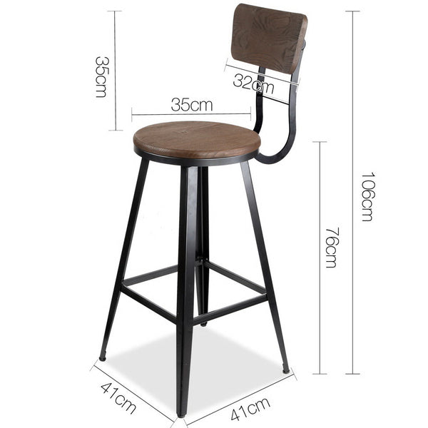 76cm Seat High Industrial Swivel Bar Stool-Black-FREE SHIPPING