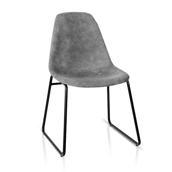 Set of 2 PU Faux Leather Dining Chairs-Grey-FREE SHIPPING