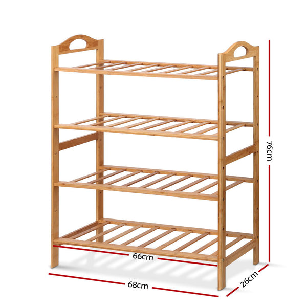 Wooden Bamboo Shoe Rack Organiser-4 Tiers-FREE SHIPPING