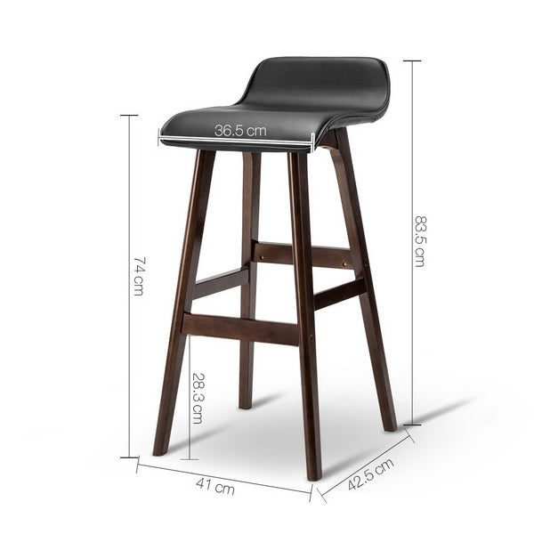 Set of 2 PU Faux Leather and Wood Bar Stools-Black-FREE SHIPPING