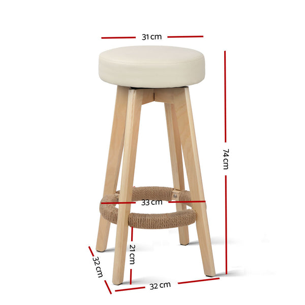 Set of 2 Kitchen Bar Stools-Swivel Barstools-74cm-Faux Leather-Cream-FREE SHIPPING