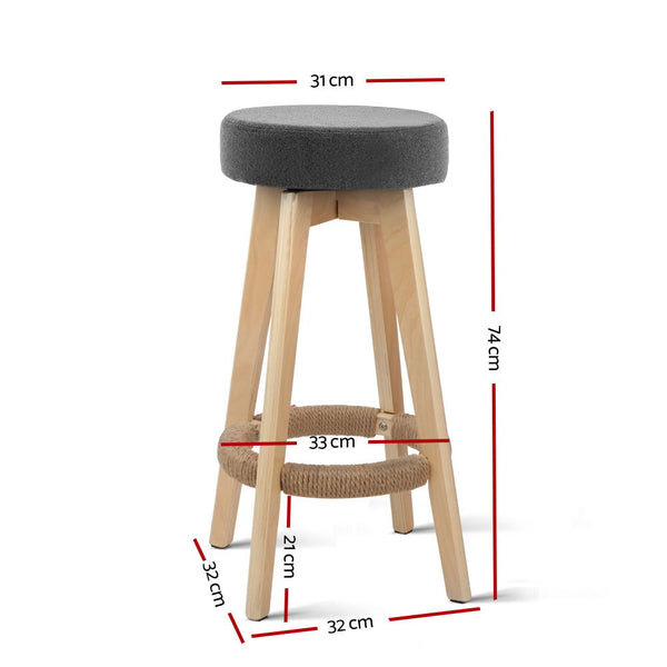 Set of 2 Kitchen Bar Stools-74cm-Fabric-Grey-FREE SHIPPING
