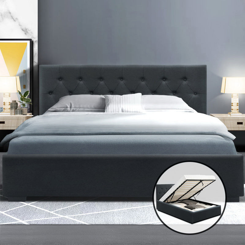 Queen Size Gas Lift Bed Frame-Base With Storage-Charcoal Fabric-FREE SHIPPING