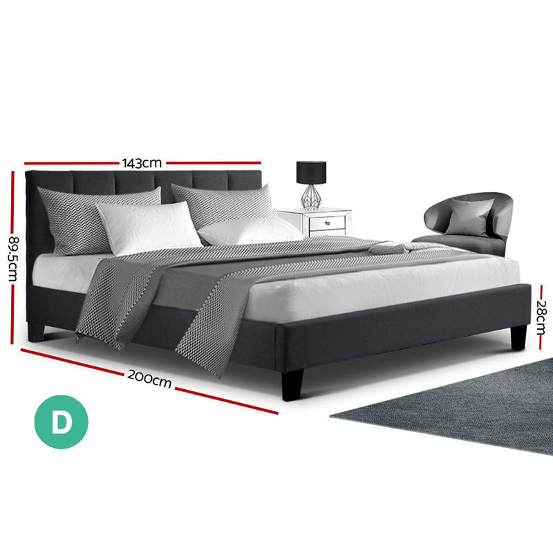 Double Size Anna Bed Frame-Fabric-Charcoal Colour-FREE SHIPPING