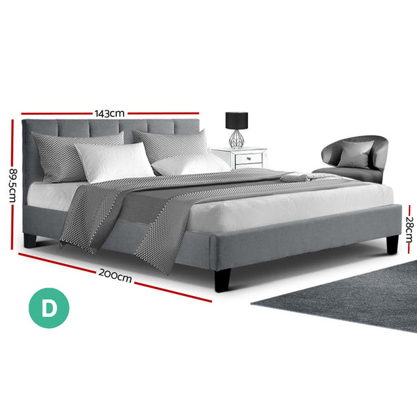 Double Size Anna Bed Frame-Fabric-Grey Colour-FREE SHIPPING
