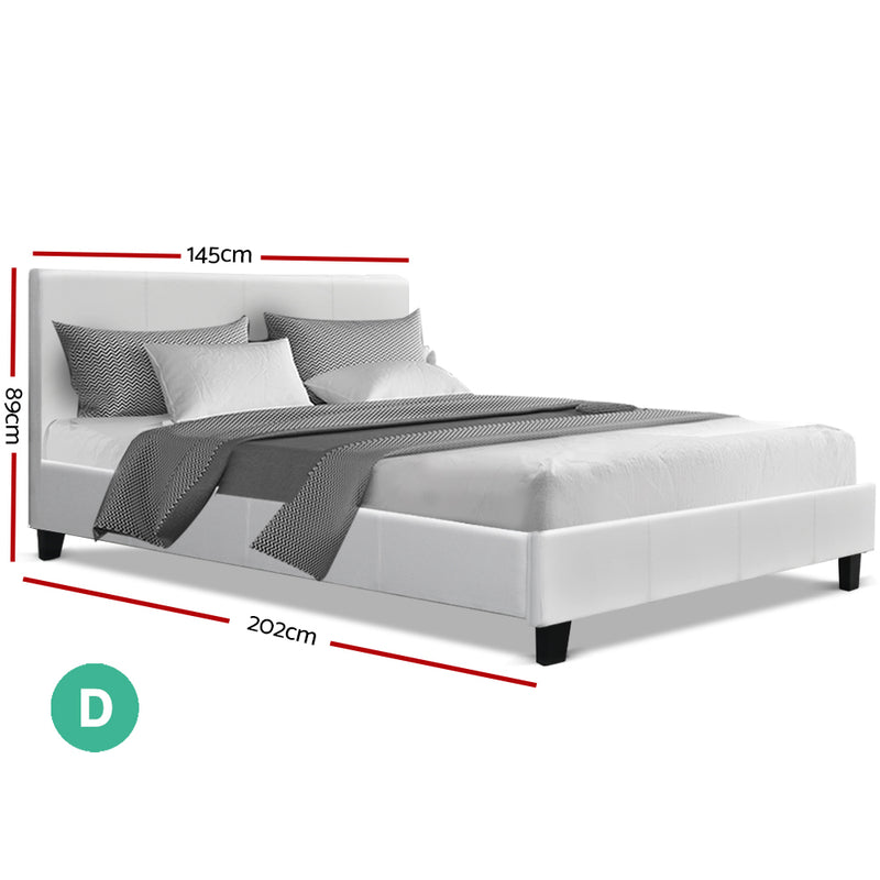 Double Size Bed Base-PU Faux Leather-White-FREE SHIPPING
