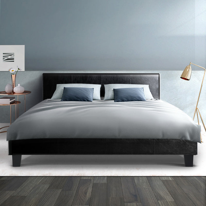 Queen Size Bed Base-PU Faux Leather-Black-FREE SHIPPING