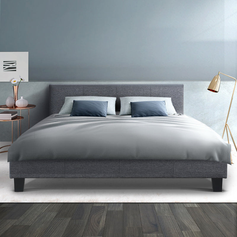 Queen Size Bed Base-Grey Fabric-FREE SHIPPING