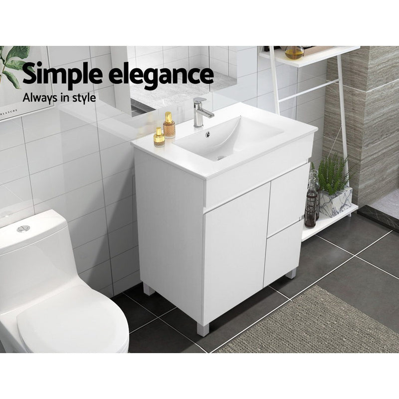 Cefito 750mm Bathroom Vanity Cabinet Unit Wash Basin-Freestanding-White-FREE SHIPPING