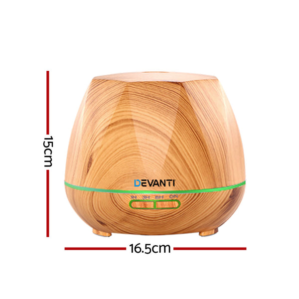 Devanti Ultrasonic Aroma Aromatherapy Diffuser-Oil-Electric-LED -Air Humidifier-400ml-Wood-FREE SHIPPING