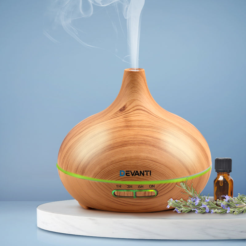 300ml, 4 in 1 Aromatherapy Diffuser - Light Wood-FREE SHIPPING
