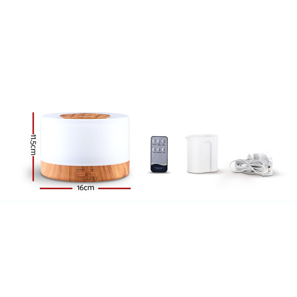 Aroma Diffuser-Aromatherapy LED Night Light-Air Humidifier Purifier-Light Wood Grain-500ml-Remote Control-FREE SHIPPING