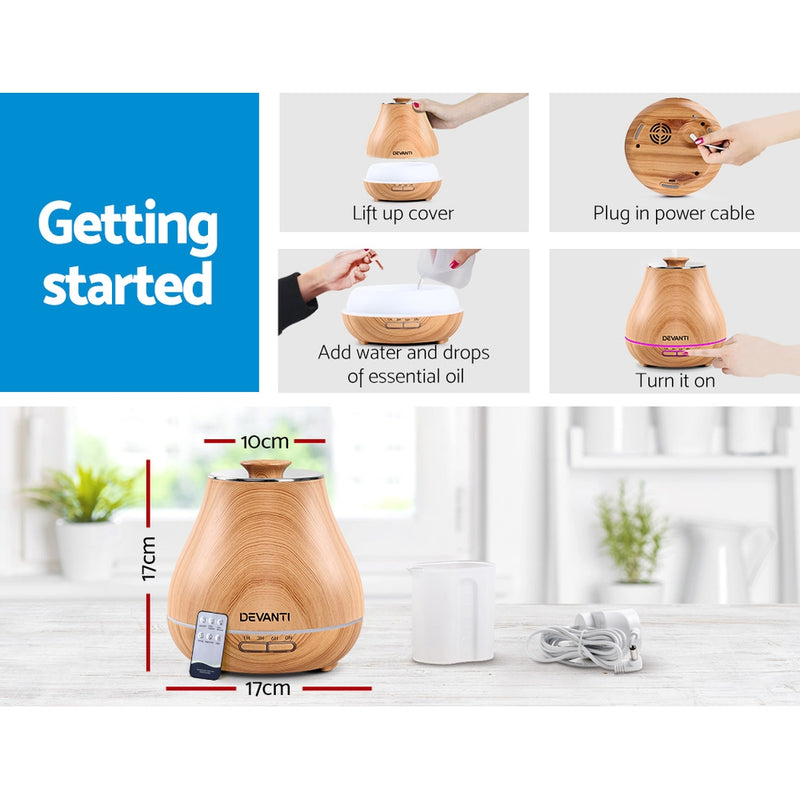 Aroma Diffuser-Air Humidifier-Wood Grain-400ml-FREE SHIPPING