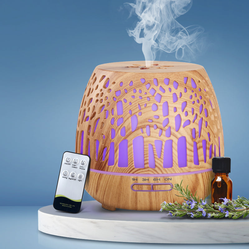 Aroma Diffuser-Aromatherapy Humidifier-Essential Oil-Cool Mist-Wood Grain-Remote Control-400ml-FREE SHIPPING