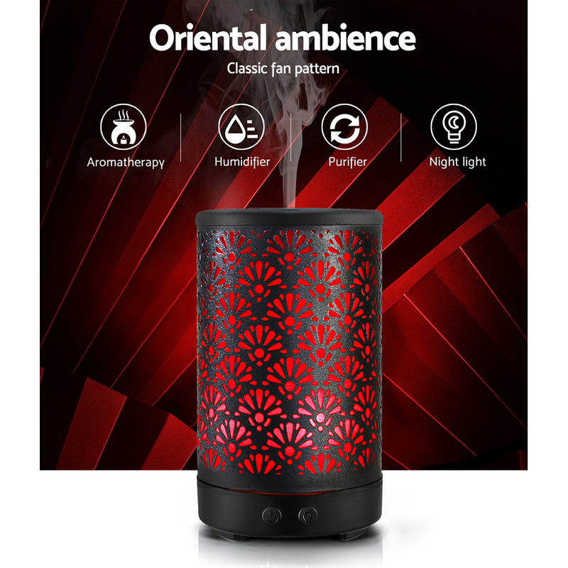 100ML Aroma Diffuser-Aromatherapy Essential Oils-Metal Cover-Cool Mist-Remote Control-Black-FREE SHIPPING