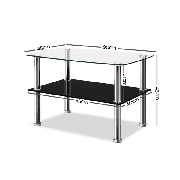 90cm Dumor Glass Coffee Table with 1 Shelf-FREE SHIPPING