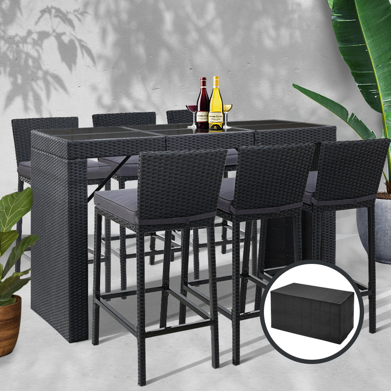 6 Seater Outdoor Bar Set -Table and Stools-Wicker-FREE SHIPPING