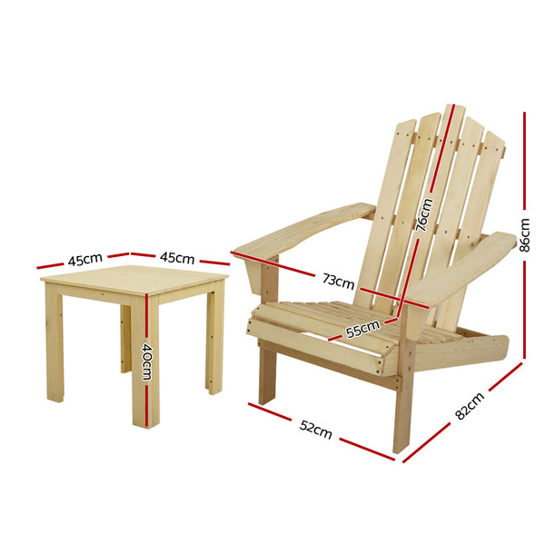 3 Piece Outdoor Sun Lounger Beach Chairs and Table Setting-Natural Wood Colour-FREE SHIPPING
