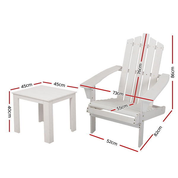 3 Piece Outdoor Sun Lounger Beach Chairs and Table Setting-White-FREE SHIPPING